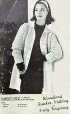 "Vintage Knitting Pattern • Ladies Cable Aran Jacket Coat & Pencil Skirt • 36"""