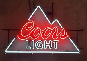 "Coors Light Mountain Beer Neon Light Lamp Sign 19""x30"" Real Glass Decor Bar Pub"