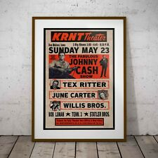 More details for johnny cash krnt theater 1966 concert poster framed or 3 print options new excl.