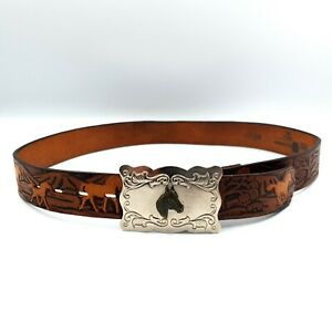 """Chambers USA Size 28"""" Vintage Brown Horse Tooled Leather Belt & Removable Buckle"""