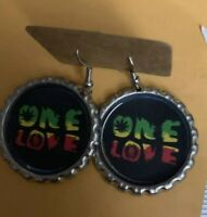 "1"" Bottle Cap Image Earrings ~ Handcrafted ~ **Gift Idea ~ One Love"