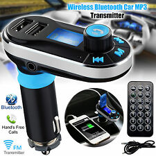 Bluetooth Handsfree Car Kit MP3 FM Transmitter Dual SD USB Charger For Phones