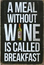 New Vintage Style Retro Metal Wall Hanging Sign A Meal Without Wine Is Breakfast