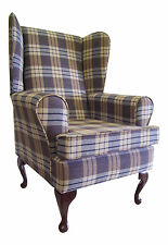 FIRESIDE/WING BACK/QUEEN ANNE CHAIR CHAMBRAY KINTYRE TARTAN CHECK