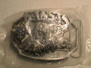 KANSAS K OF C KNIGHTS OF COLUMBUS  WAGON TRAIN W/ OXEN 3D LOOK BELT BUCKLE NIP