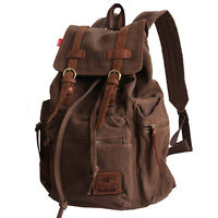 Men Women Vintage Canvas Leather Backpack Rucksack School Satchel Hiking Bag Hot