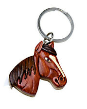 Western Cowgirl Jewelry Wood Horse Head Key Ring Handcrafted