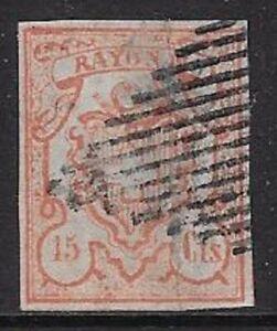 Switzerland 1852 15 Cts - Sc #13 / Zum19 w/Frame - Used Imperf $1150.00 -cw79.83