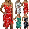 Women's Summer Boho Floral Midi Dress Lady Evening Party Cocktail Beach Sundress