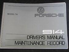 NEW NOS 1974 PORSCHE 914 OWNERS MANUAL BOOK DRIVERS HANDBOOK GENUINE GERMAN
