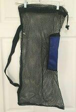 Scuba Diving Drawstring Mesh Bag Drawstring Shoulder Strap Zippered Pocket, Vtg