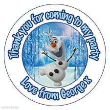 24x Personalised Birthday Frozen Olaf Edible Topper Cupcake Fairy Wafer Rice-C3