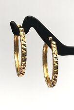 18k Solid Yellow Gold Hoop Earrings 18mm .Diamond Cut Design. 2.50 grams