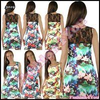 Women's Floral Mini Dress Summer Holiday Beach Casual Sundress Size 8,10,12,14