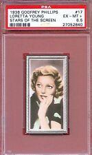 1936 Stars of the Screen Card #17 LORETTA YOUNG The Farmer's Daughter PSA 6.5