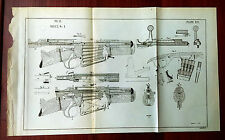 RARE Original 1892 DURST 1 Military War Rifle Gun Sketch Plate Diagram