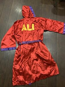 Vintage🔥 Muhammad Ali California Movie Prop Satin Robe Boxing Red Purple LARGE