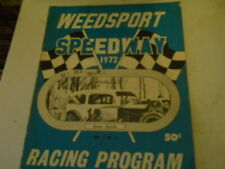 1972 WEEDSPORT DIRT MODIFIED RACING Program CHUCK CIPRICH COVER