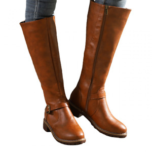 Womens Retro Zip Knee High Boots Block Low Heels Buckle Riding Boot Casual Shoes