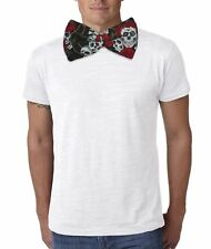 Adults Unisex Giant Bowtie Skull & Roses Printed Poly-Cotton Huge Dicky Bow