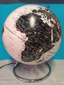 Light up world globe map Modern  Black & White with chrome stand, light, lamp