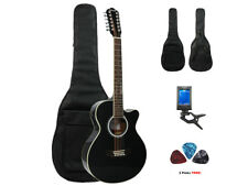 Fever 12 String Acoustic Electric Guitar with Bag, Tuner and Picks, Black