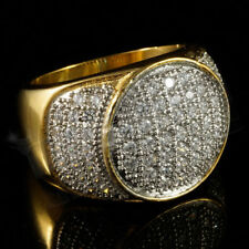 14K Yellow Gold Round Pave Diamond Men's Anniversary Wedding Pinky Ring 2.25 Ct