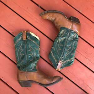 Vintage J Chisholm Western Style Leather Cowboy Cowgirl Boots, 8.5 Forest Green