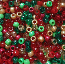 100 Noël Festif Mix Rouge Vert Or Perle Paillettes Pony Beads Loom mannequin