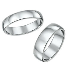 His and Hers Set Solid Titanium High Polished Wedding Rings 5&7mm