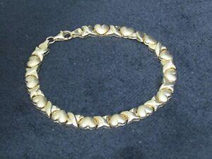10K Yellow Gold X & Heart Link Bracelet