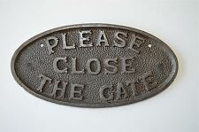 Cast iron vintage style PLEASE CLOSE THE GATE sign plaque garden gate door