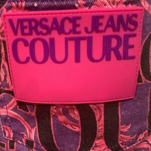 VERSACE COUTURE VERSACE LOGO ALLOVER HOT PINK SKIRT 40 US 4 WOW NWT