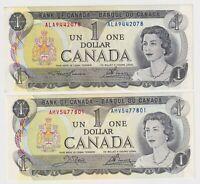 Canada $1 (1973) x 2 Banknotes - 2 Different Signature Sets - aUNC/UNC