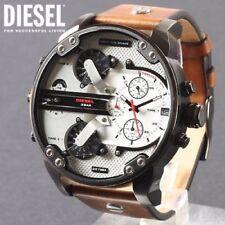 DIESEL DZ7394 MR DADDY 2.0 Gunmetal IP Brown Leather Silver Dial Mens Watch NEW