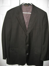 Mens Brown Pinstriped BROOKS BROTHERS Lined Wool Suit 44 Long