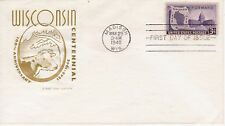 FIRST DAY COVER FDC 1948 WISCONSIN CENTENNIAL ISSUE HOUSE OF FARNAM CACHET