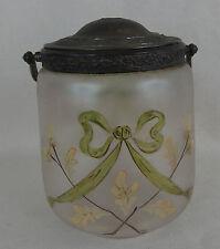 ancien seau à biscuit en verre émaillé / décor nœud et glands 1900 style legras