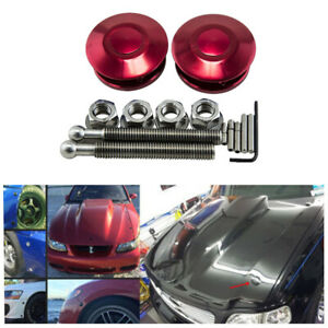 Red JDM Style Metal Push Button Quick Release Car Hood Pins Bonnet Lock Clip Kit