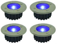 4 X SOLAR DECKING LIGHTS BLUE LED GARDEN DECK PATIO DRIVEWAY STAINLESS STEEL NEW