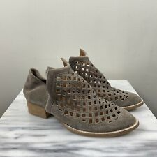 Jeffrey Campbell 8 Step Down Gray Suede Perforated Ankle Booties Boots Shoes
