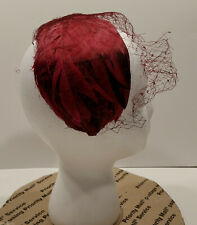 Vintage Mr Mac Ladies Hat Red Feather HeadBand and Veil Union Made Usa