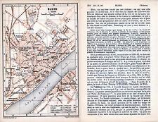 41 Blois 1898 plan ville + guide (4 p) St-Lazare Hautes Granges - tram d'Ouzouer
