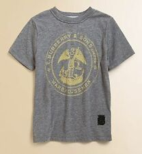 BURBERRY BOYS COTTON WAREHOUSE TEE SHIRT MID GREY MELANGE SIZE 3 YEARS NWT $75