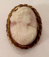 Victorian Antique cameo brooch & Pendant Carved Pink & White Shell Of Lady YGF