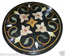 24'' Elegant Marble Side Coffee Table Top Mosaic Inlay Floral Garden Decor H922