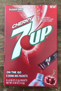 6 Boxes Of 7 Up Cherry Sugar Free On The Go Drink Mix Packets