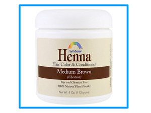 Rainbow Research, Henna,Hair Color&Conditioner,Med brown,(113 g, Exp 4/ 2023