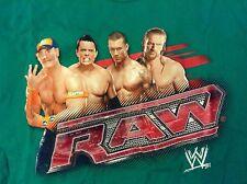 WWE T-Shirt Green Youth L Large Raw John Cena The Miz Triple H Randy Orton