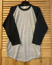 VTG Bantams T-Shirt Ringer Raglan Blank Plain XL Black/Gray 70's USA NOS